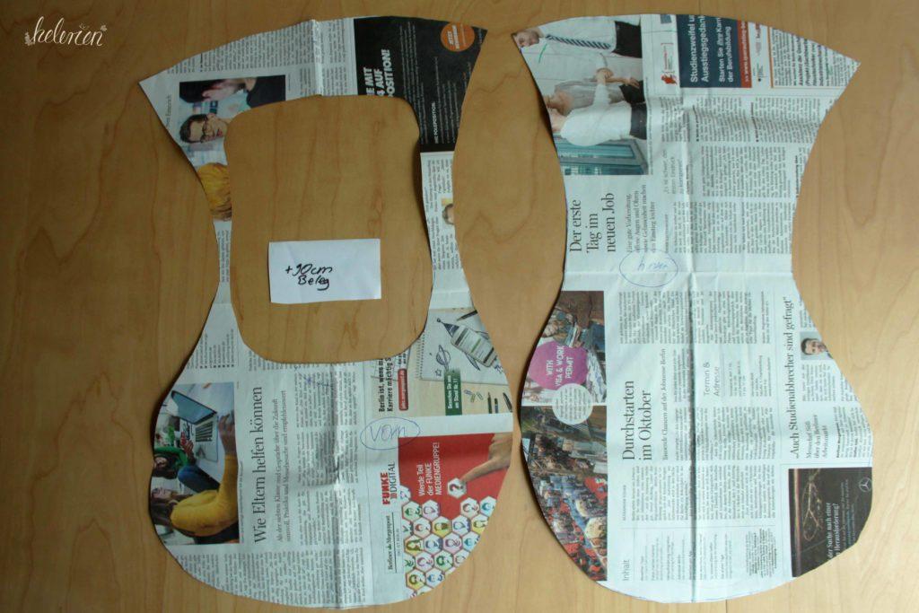 Schnittmuster aus Zeitungsppaier für den Klammerbeutel