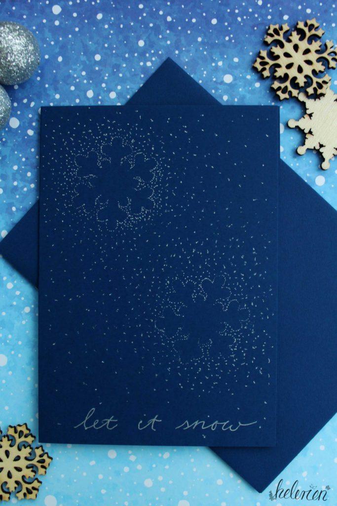 blaue Karte mit vielen Punkten in Form von Schneeflocken