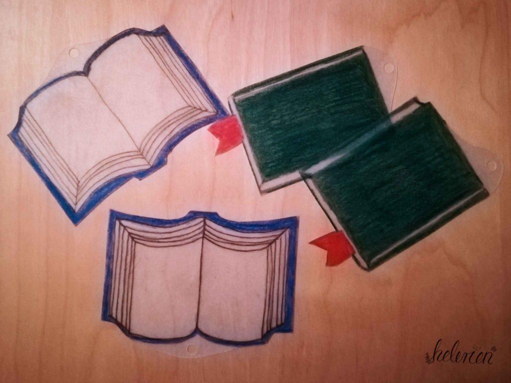 Bücherohrringe vor dem Ofen