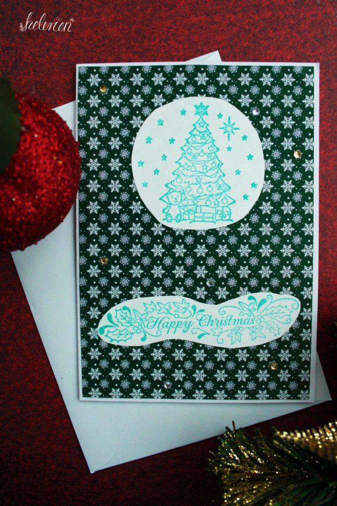 grüne Schneeflockenkarte