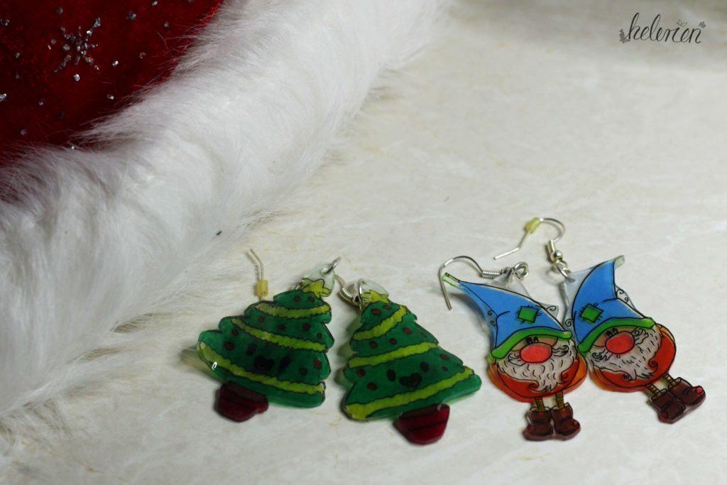 Weihnachtsohrringe aus Schrumpffolie